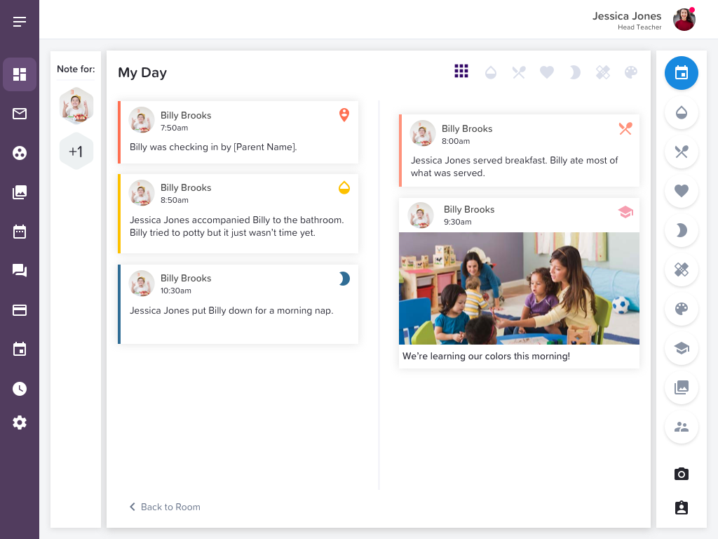 Childcare daily report software